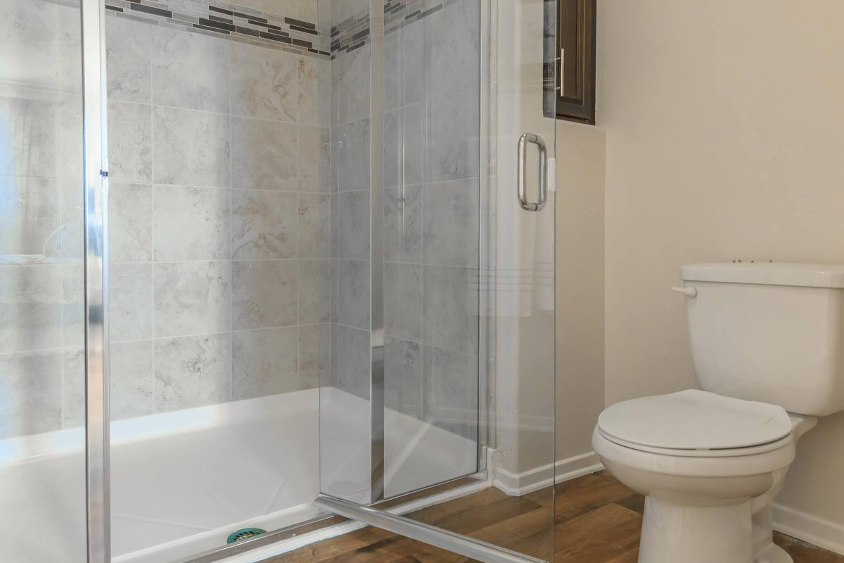 a clear glass shower door
