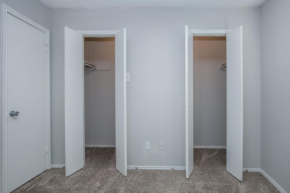 a row of white door