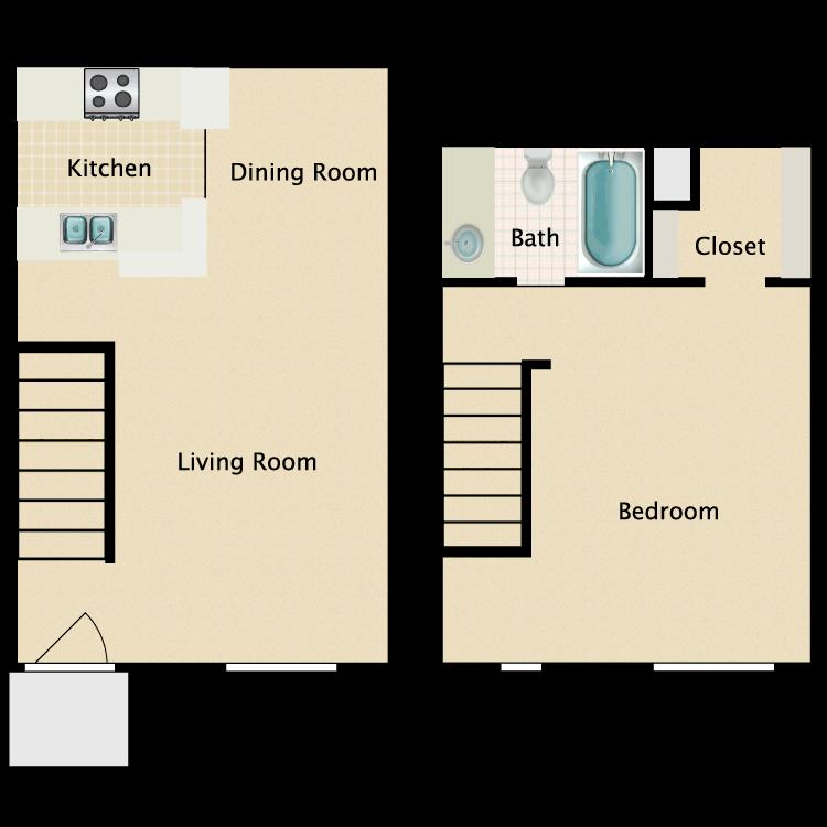 Floor plan image of 1 Bed 1 Bath Townhome