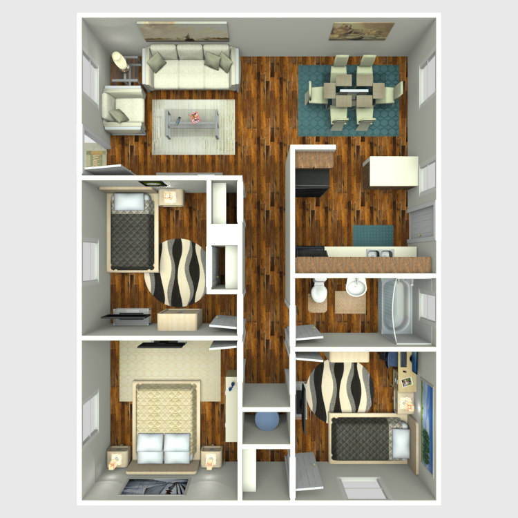 Floor plan image of Three Bed One Bath