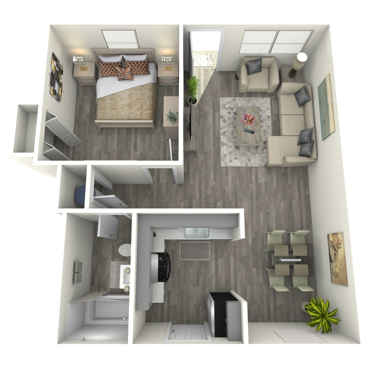 Floor plan image of One Bed One Bath D