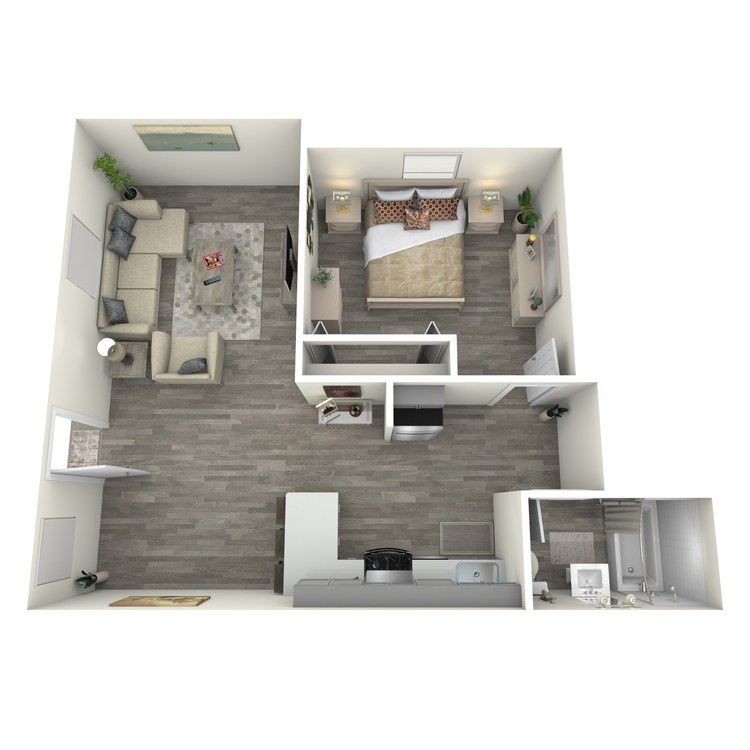 Floor plan image of One Bed One Bath A