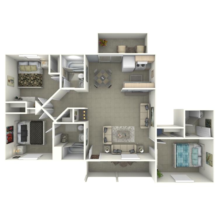 Floor plan image of 3 Bed 3 Bath