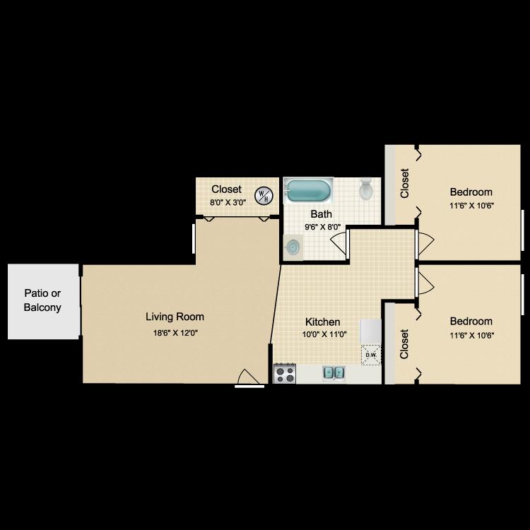 Floor plan image of 2 Bed 1 Bath Standard