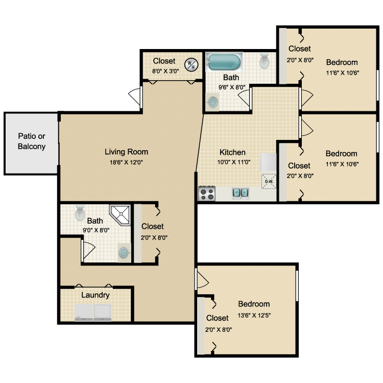 Floor plan image of 3 Bed 2 Bath Renovated