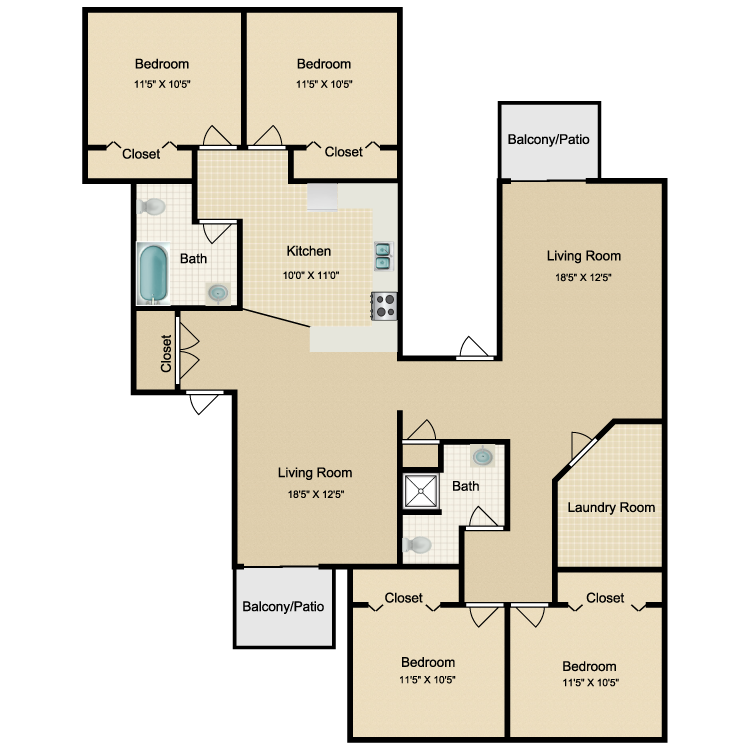 Floor plan image of 4 Bed 2 Bath Renovated