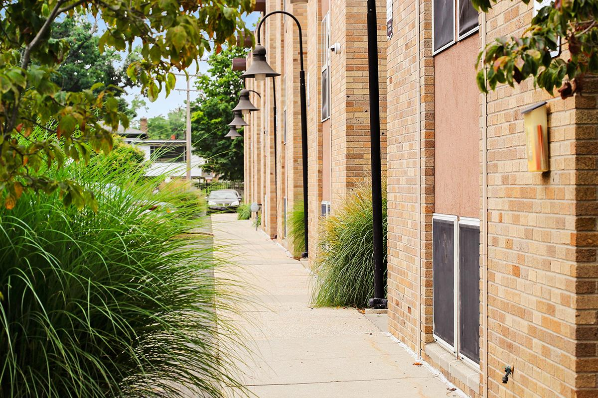 a path with trees on the side of a brick building