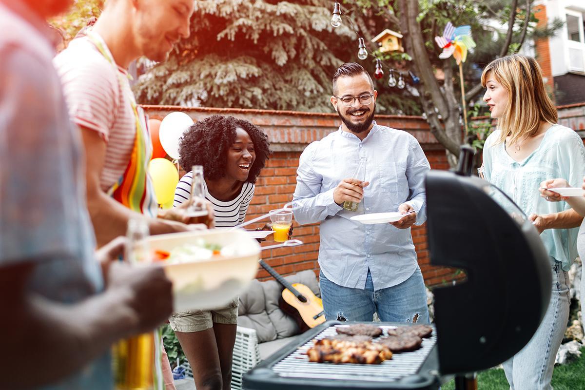 a group of people preparing food inside of it