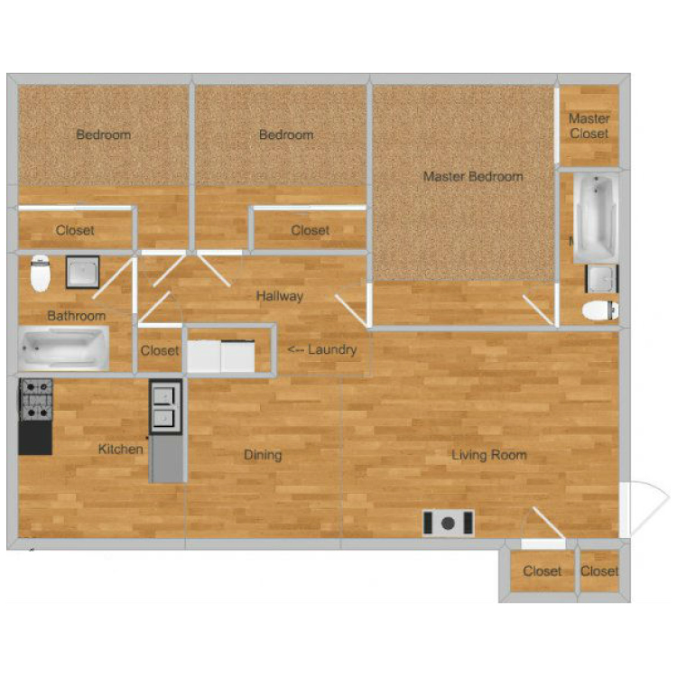Floor plan image of Creekside- Sycamore Upstairs