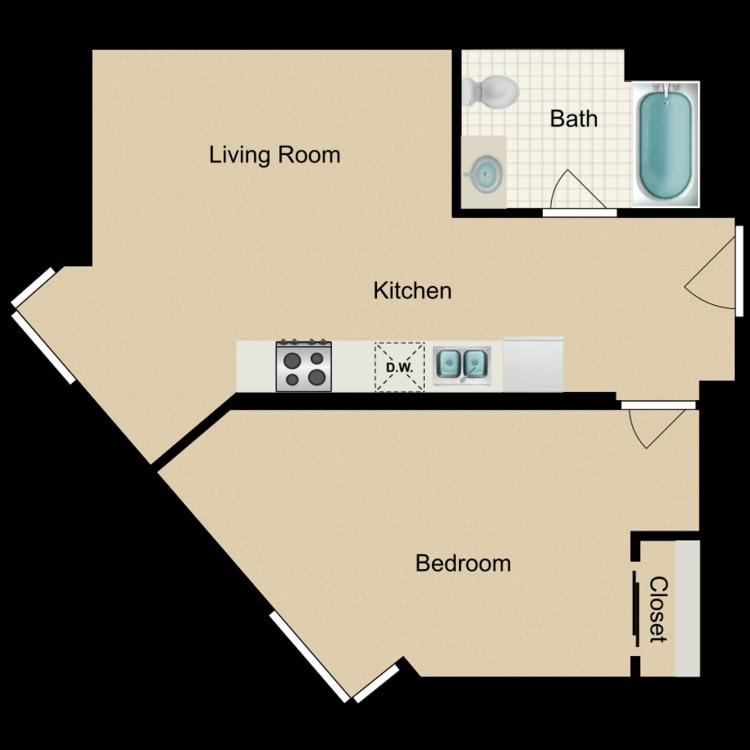 Floor plan image of 1 Bedroom C