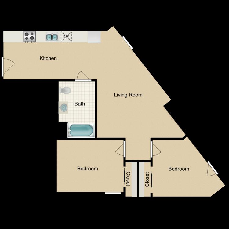 Floor plan image of 2 Bedroom A