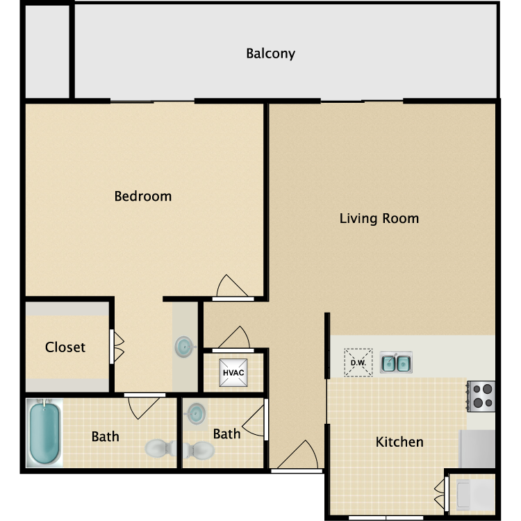 1 Bed Luxury floor plan image
