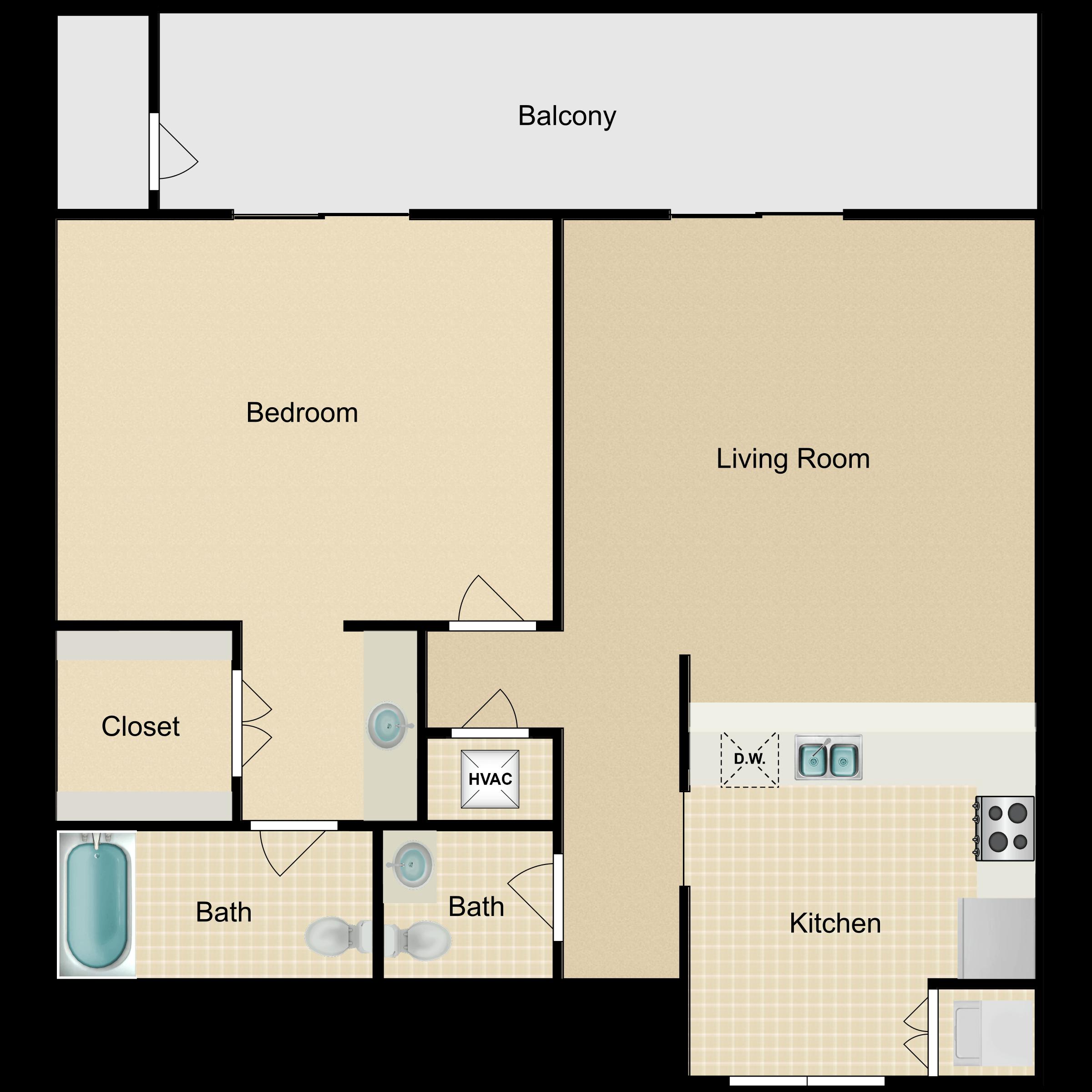 Floor plan image of 1 Bed Classic