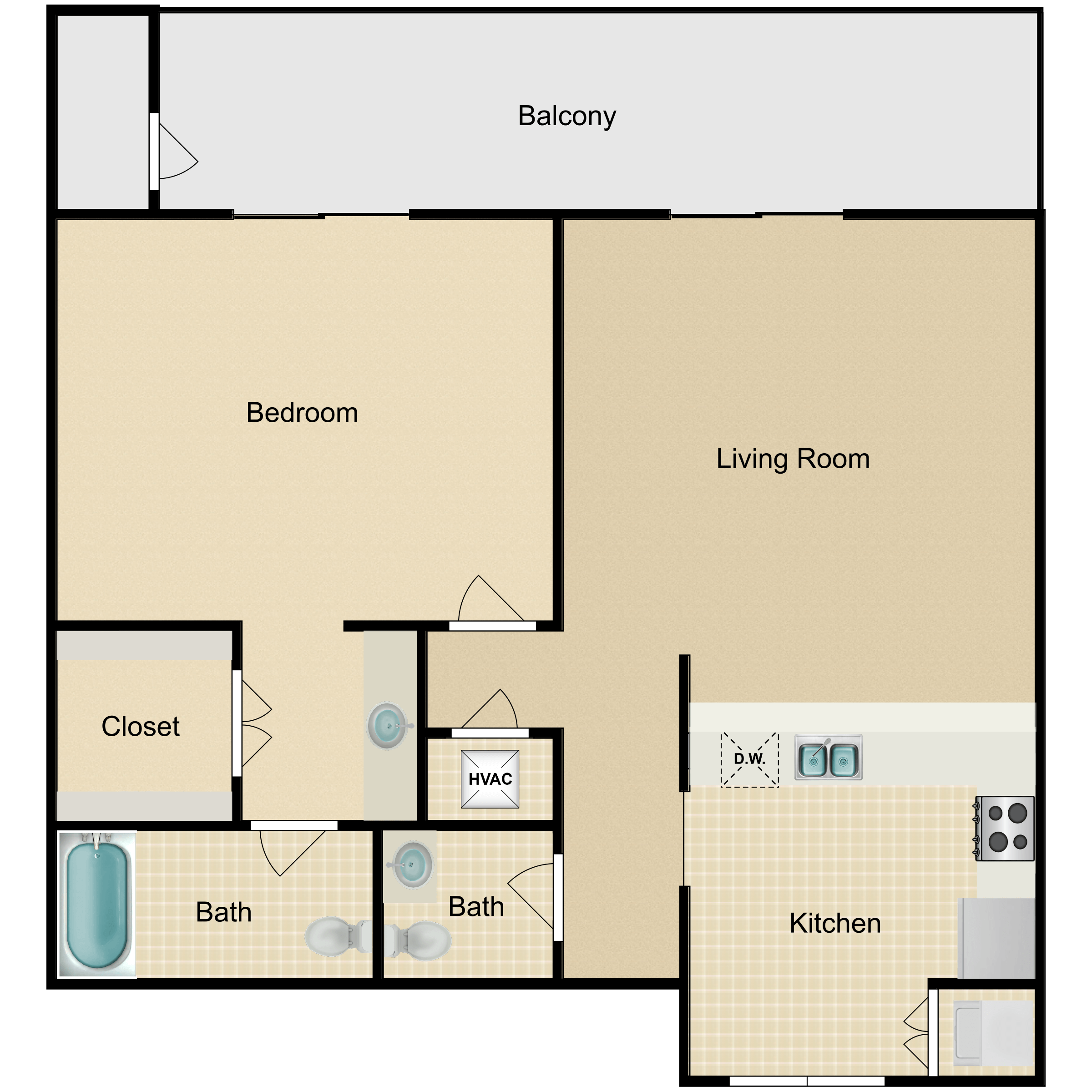 Floor plan image of 1 Bed Luxury