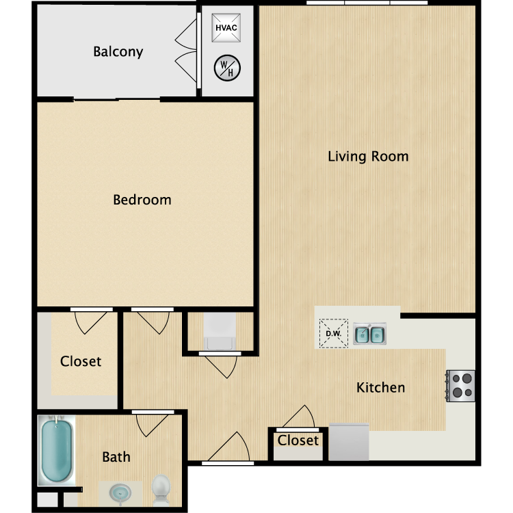 1 Bed Villa floor plan image