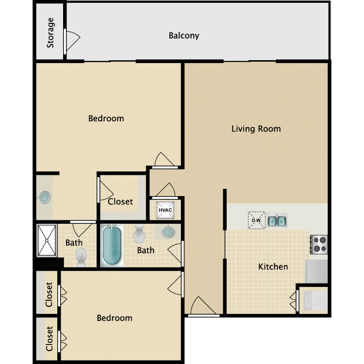 2 Bed Luxury floor plan image