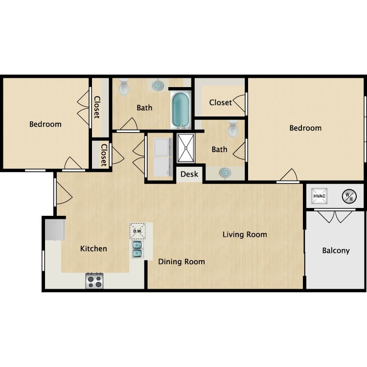 2 Bed Villa floor plan image