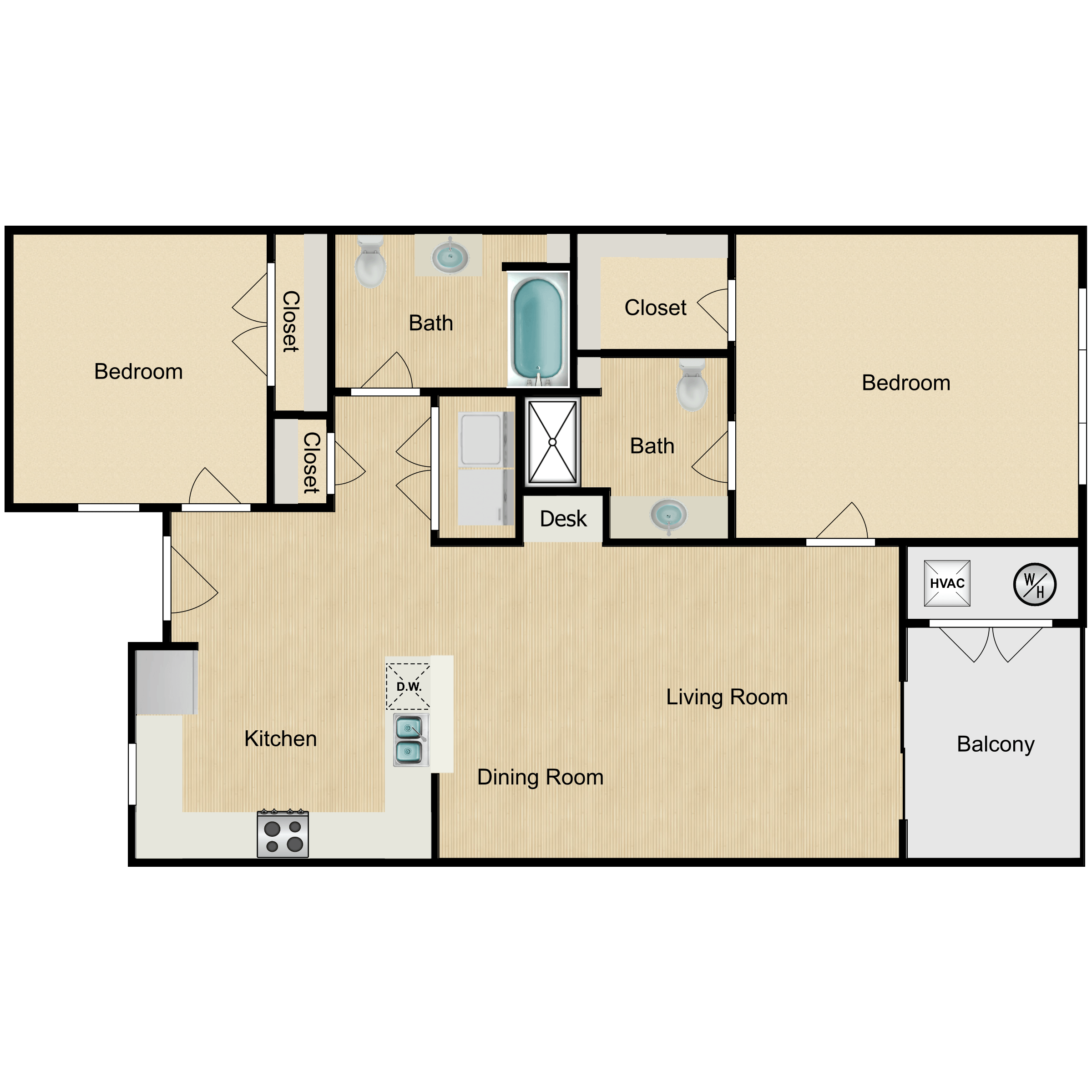 Floor plan image of 2 Bed Villa