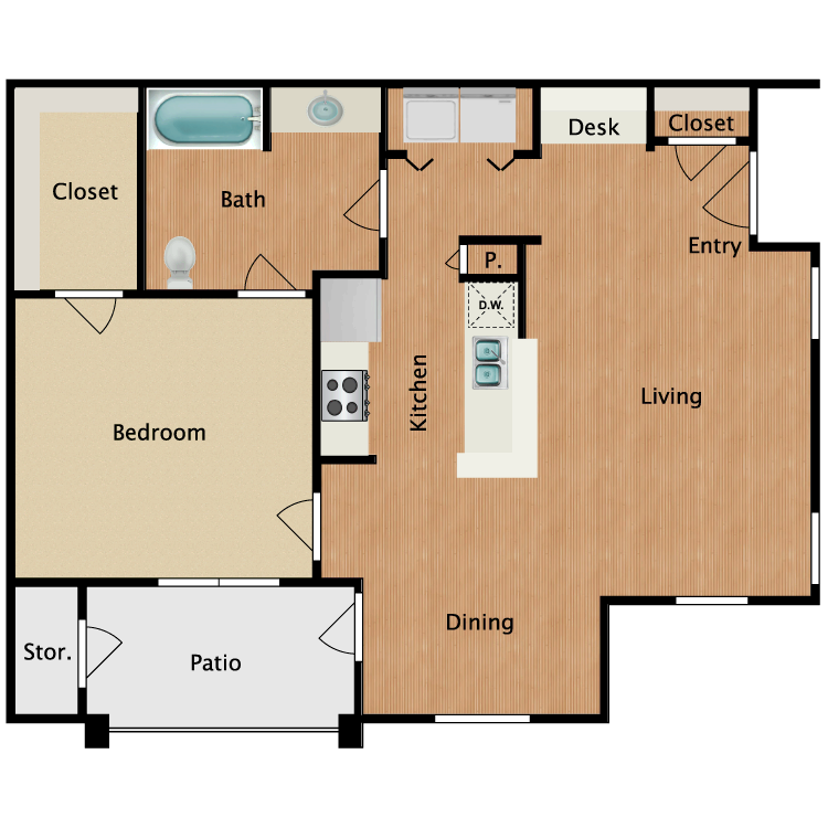 Floor plan image of A1-HC One Bedroom