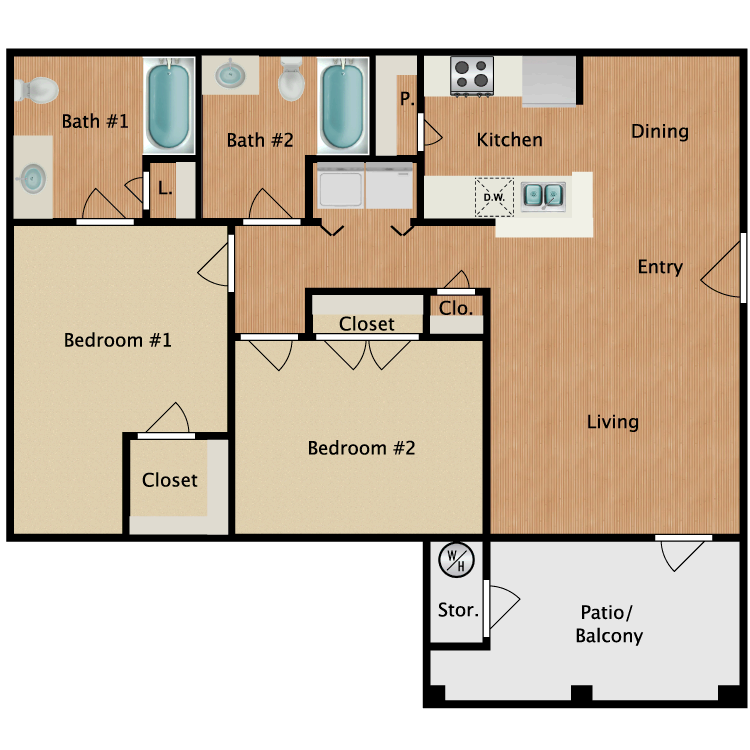 Floor plan image of B1-HC Two Bedroom