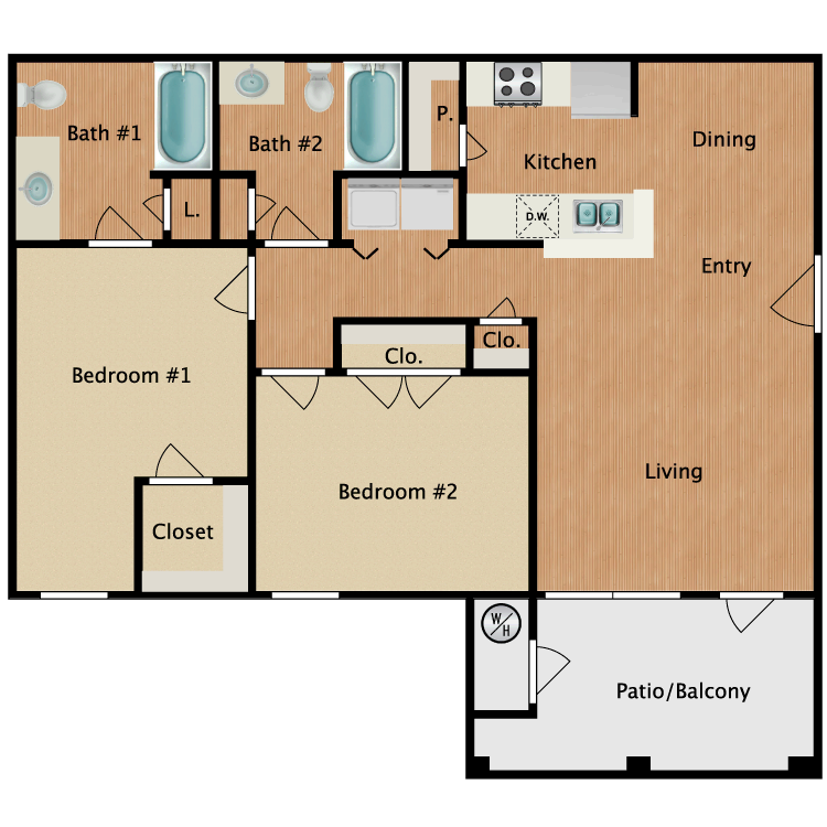 Floor plan image of B1 Two Bedroom