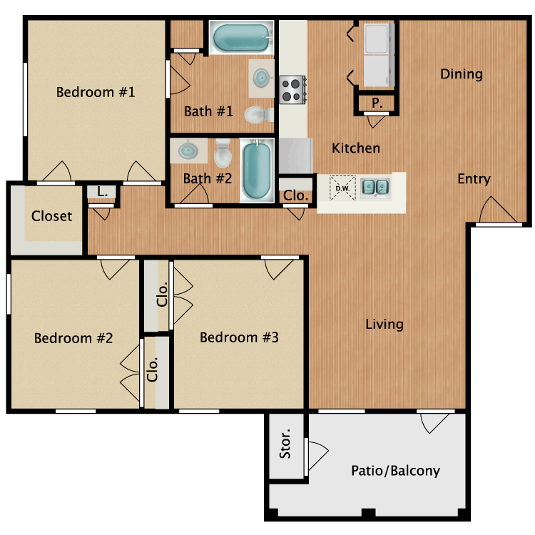 Floor plan image of C1-HC Three Bedroom