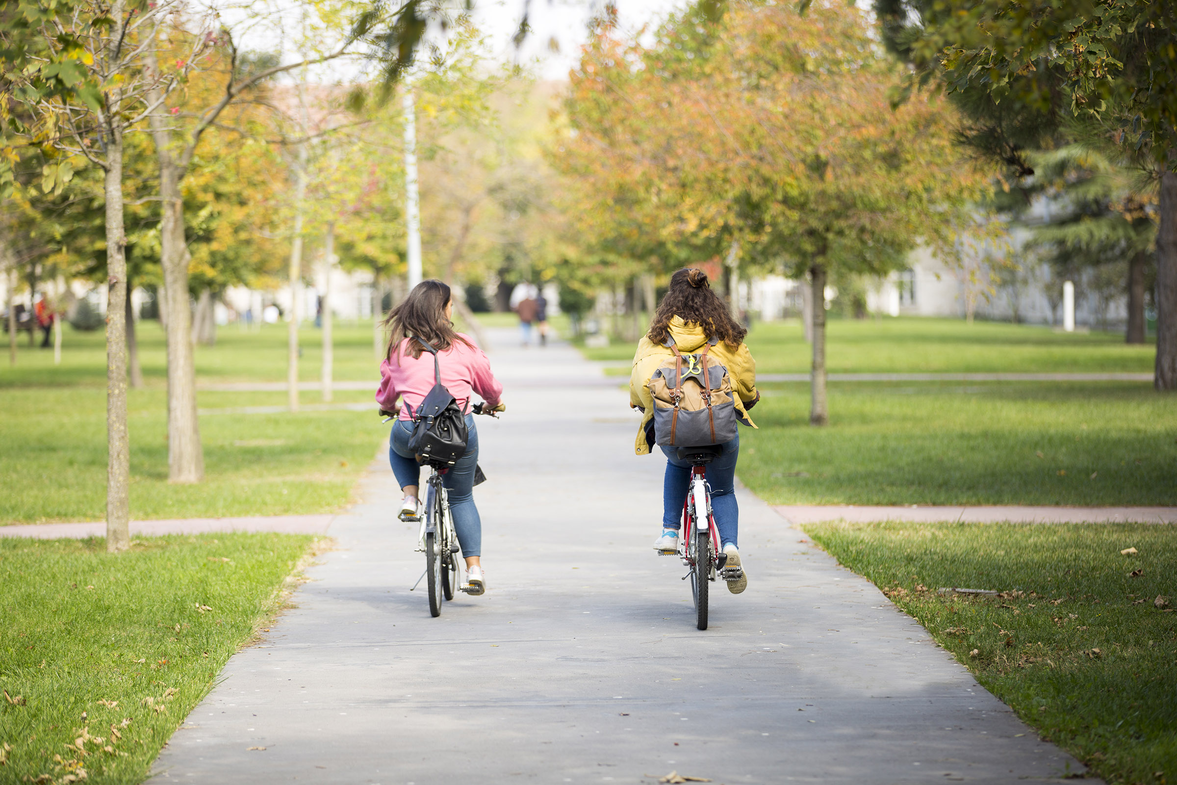 a little girl riding on the back of a bicycle