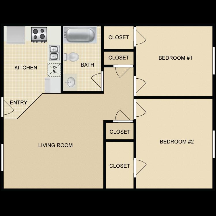 Floor plan image of 2 Bed 1 Bath Upgraded