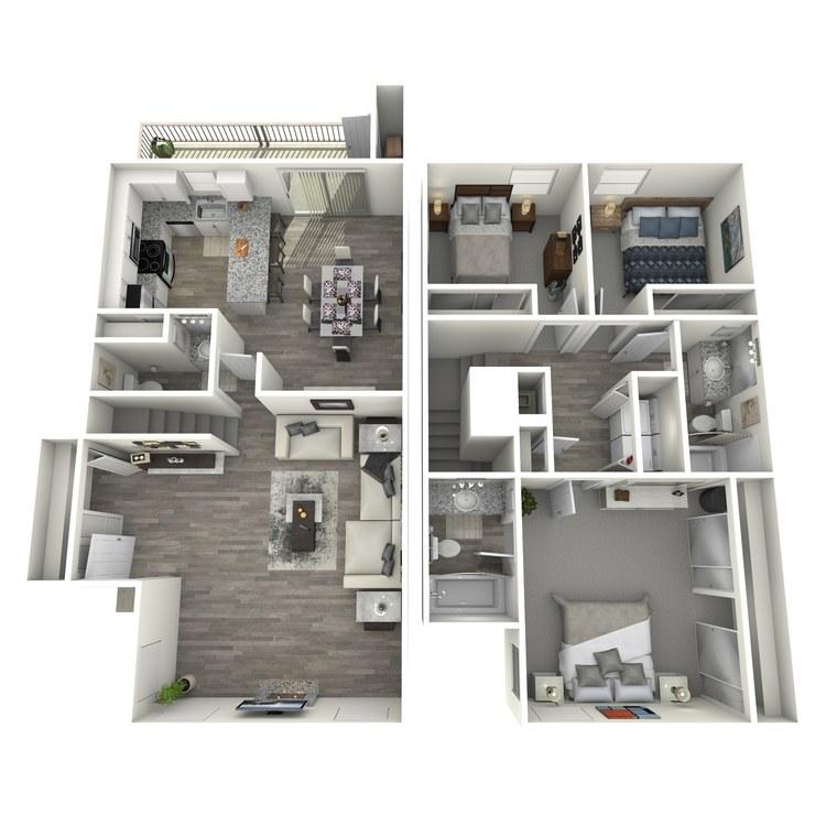 Floor plan image of 3 Bedroom Townhome
