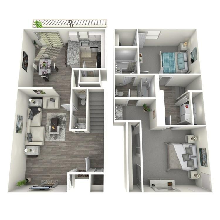 Floor plan image of 2 Bedroom Townhome