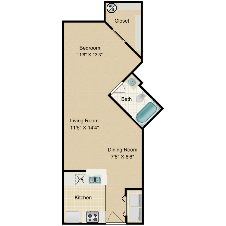 Floor plan image of Steele Studio