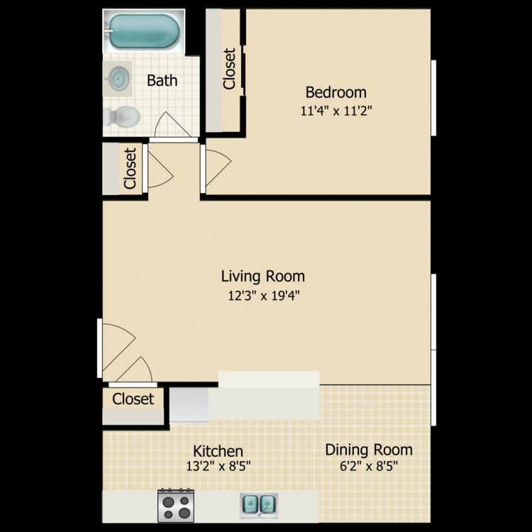 One Bedroom floor plan image