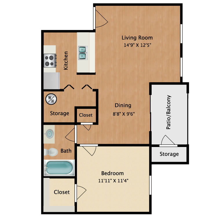 Floor plan image of Large 1 Bedroom