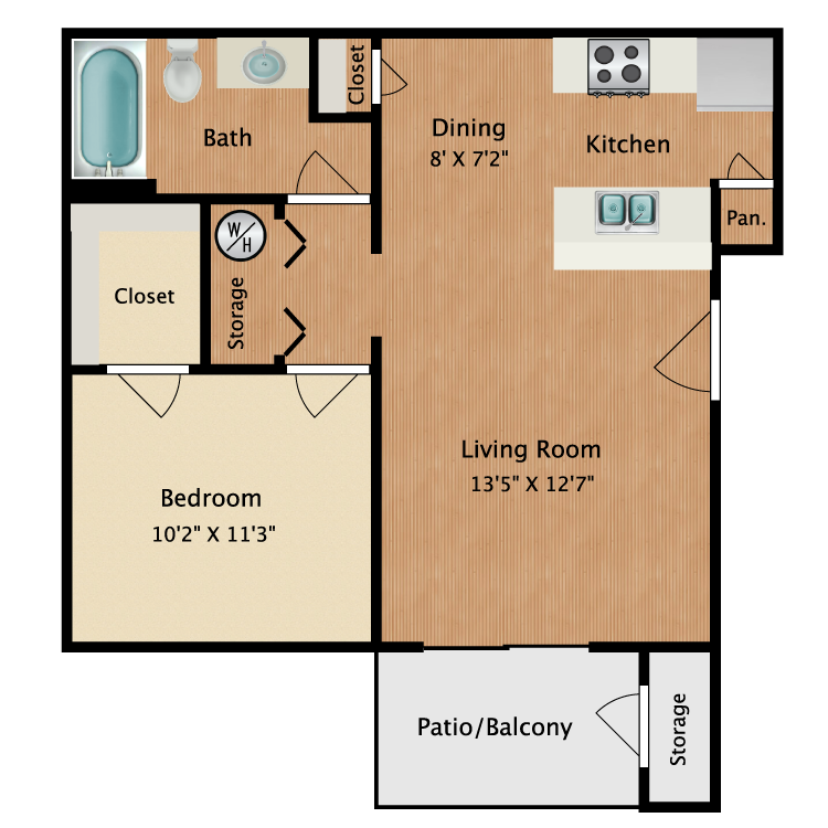Floor plan image of Small 1 Bedroom