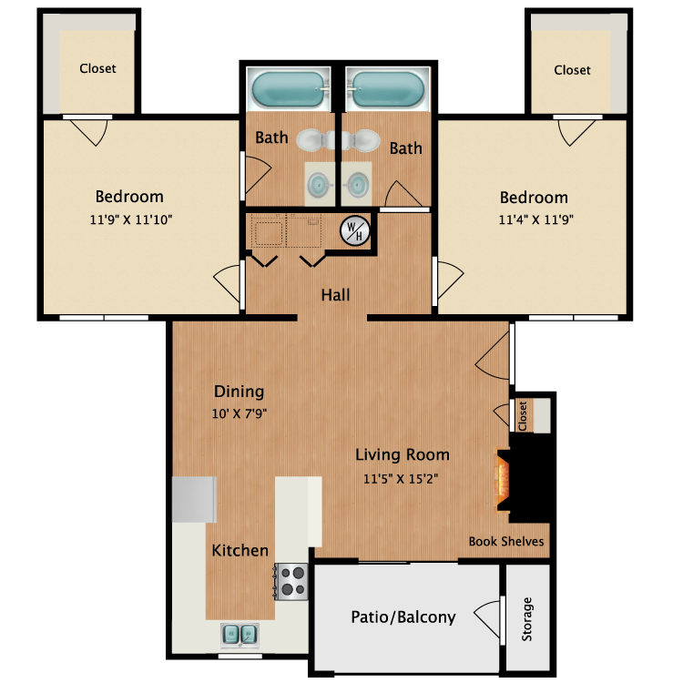 Floor plan image of Large 2 Bedrooms