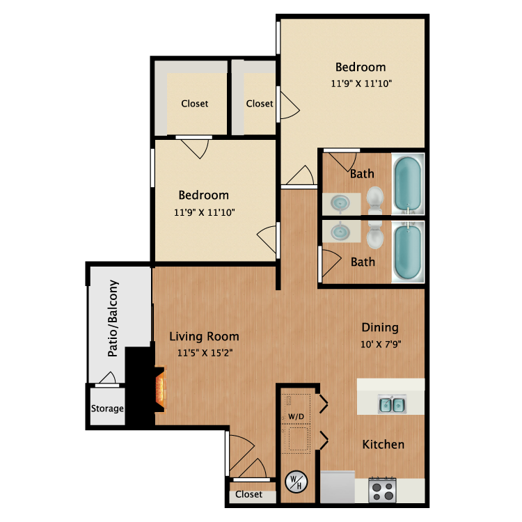Floor plan image of Small 2 Bedrooms