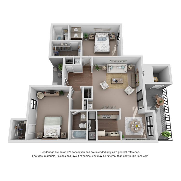 Floor plan image of Milan 1042 sq ft
