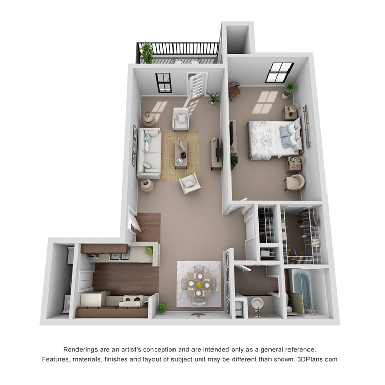 Floor plan image of Sienna 645 sq ft