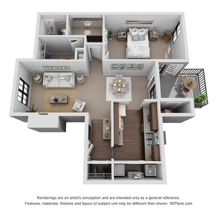 Floor plan image of Veneto 733 sq ft