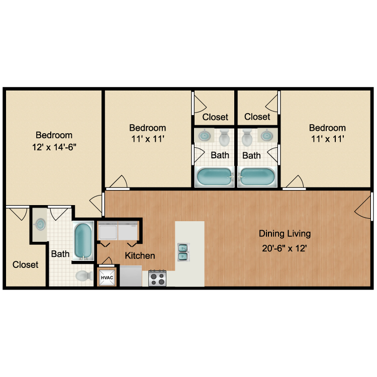 Floor plan image of 1 Bed 1 Bath Roommate Rent by Room