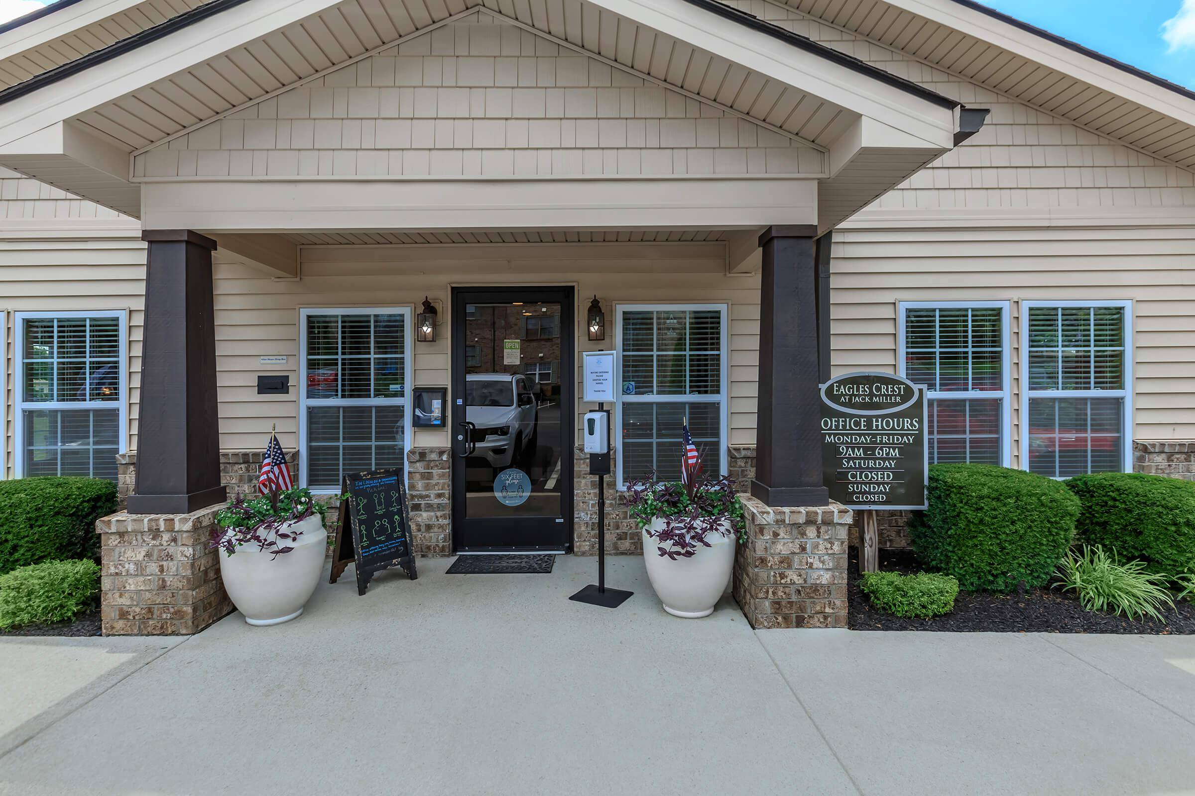Visit our leasing office here at Eagles Crest at Jack Miller in Clarksville, Tennessee