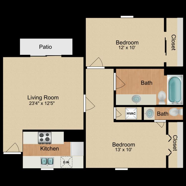 2 Bed 1.5 Bath floor plan image