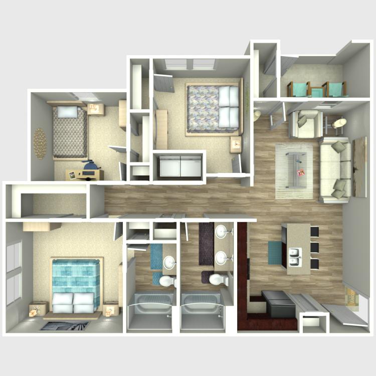 Floor plan image of 3 Bed 2 Bath C1