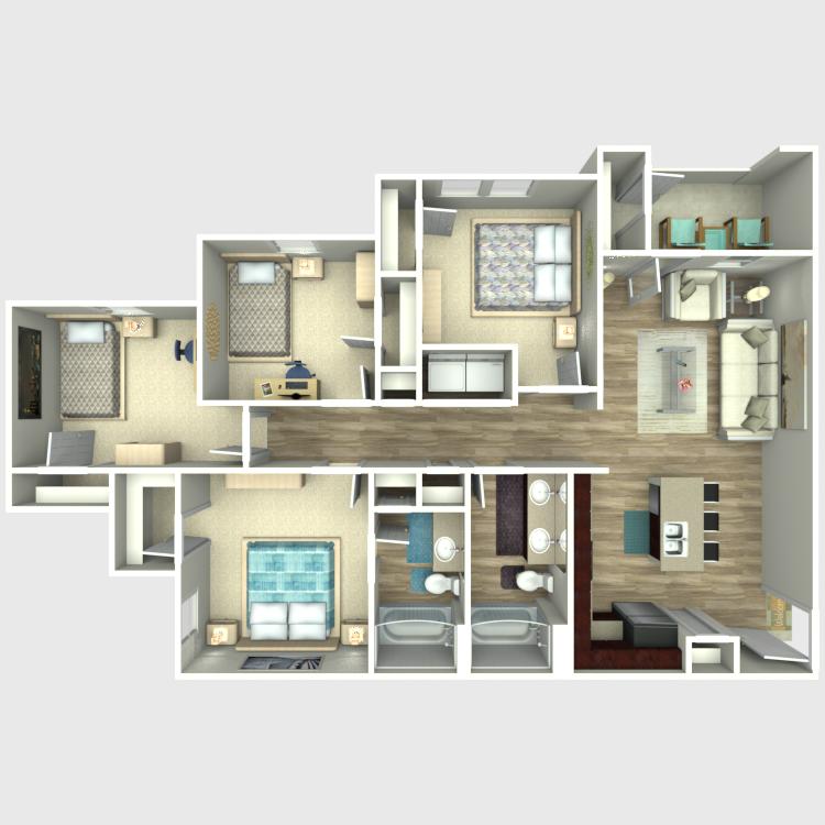 Floor plan image of 4 Bed 2 Bath D1