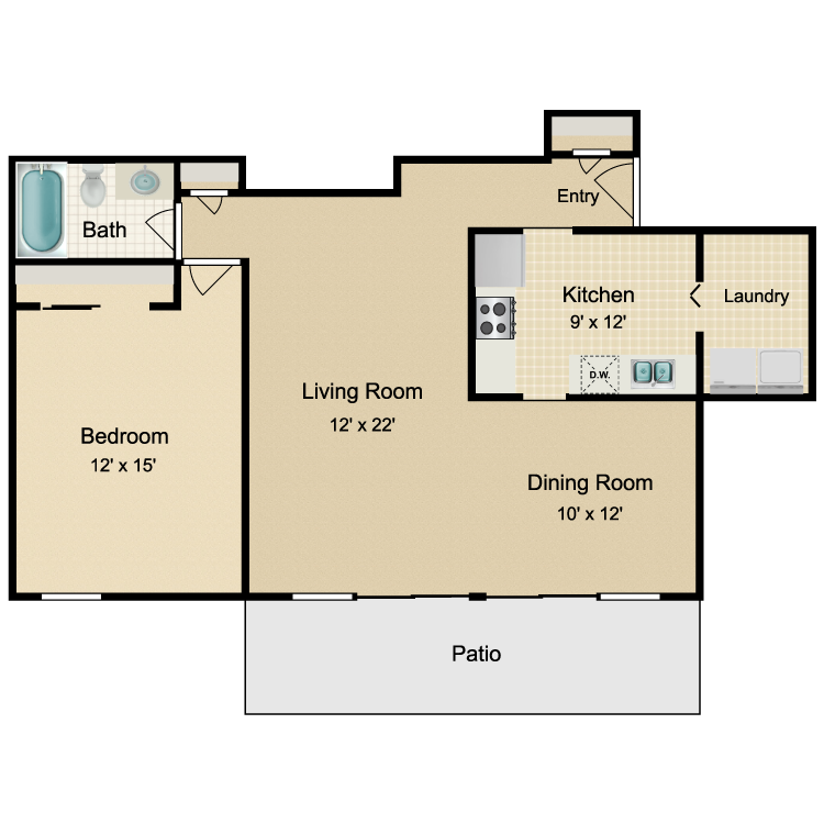 Floor plan image of 1 Bed Patio/Deck
