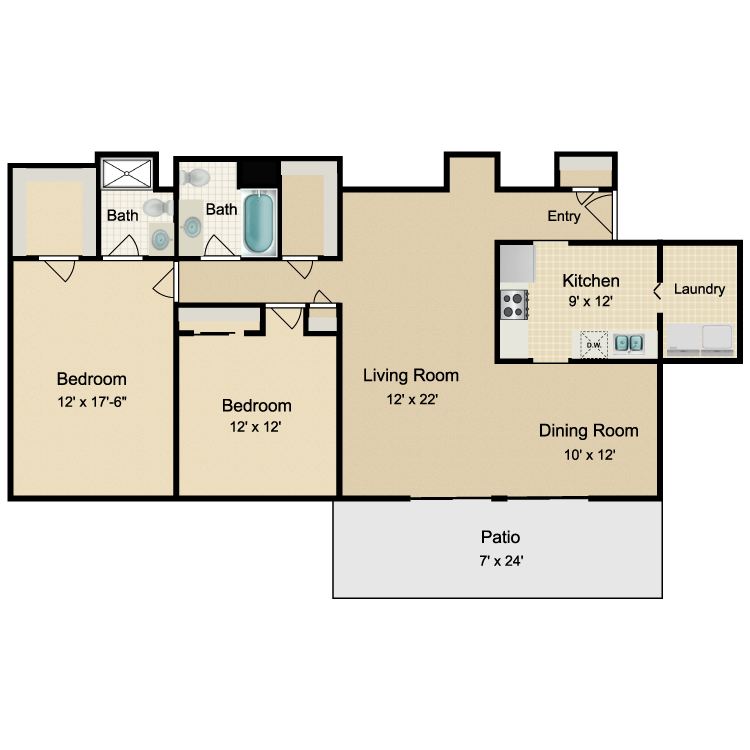 Floor plan image of 2 Bed 2 Bath Rear