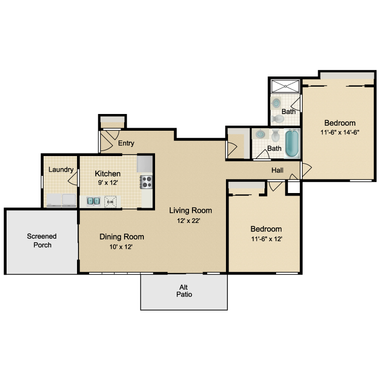 Floor plan image of 2 Bed 2 Bath Front