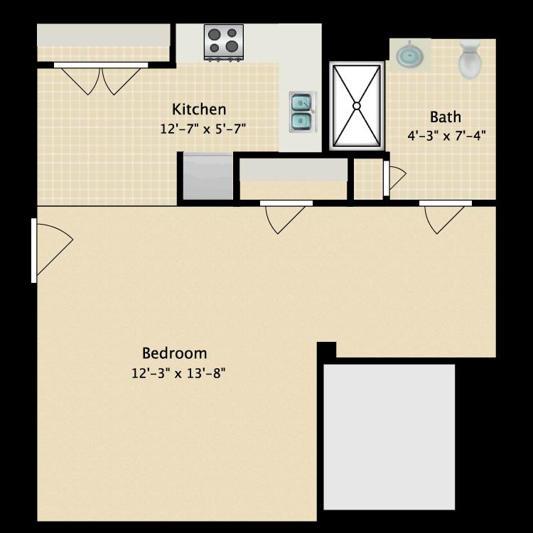 Floor plan image of 1 Bed 1 Bath Efficiency