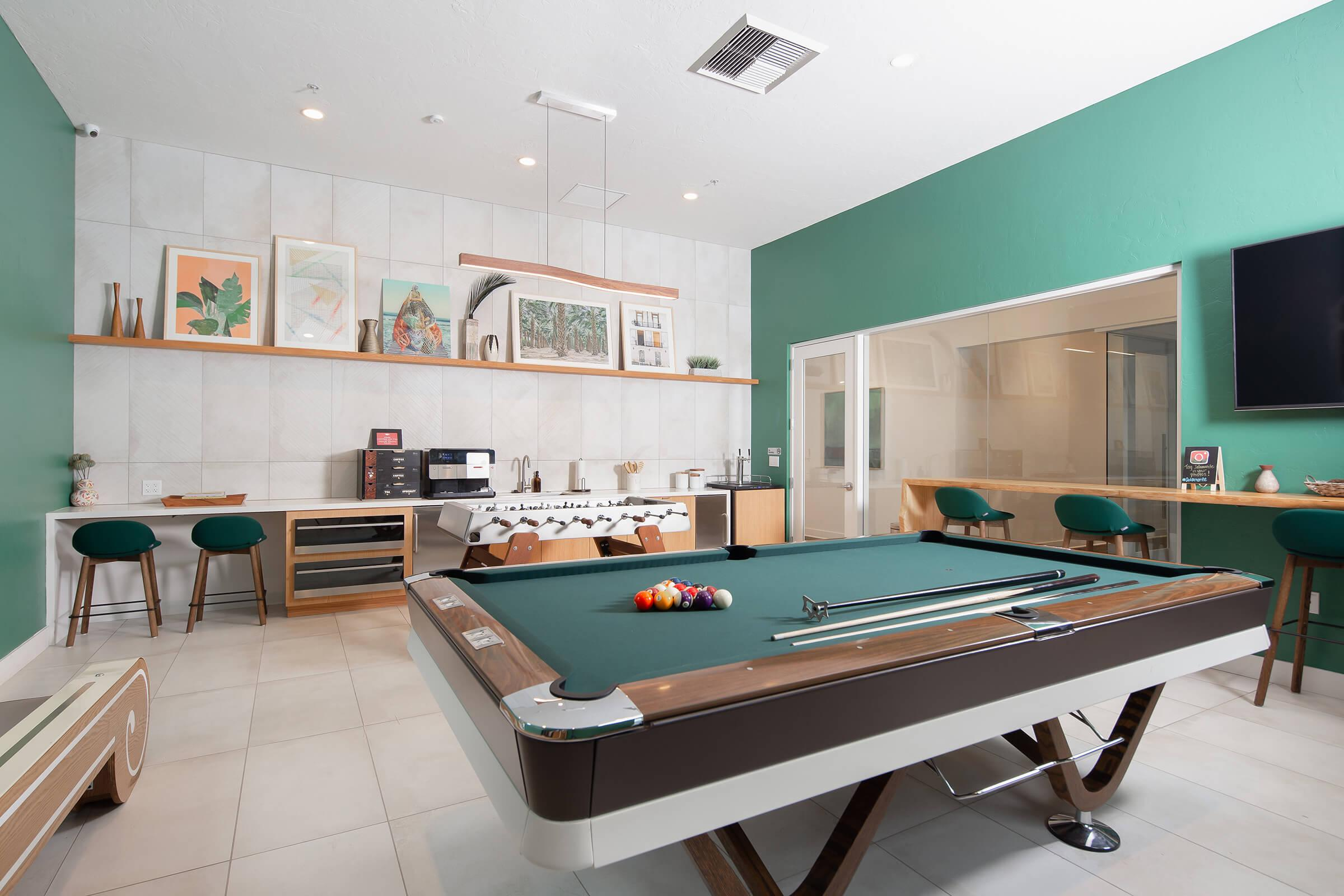Community room with a pool table