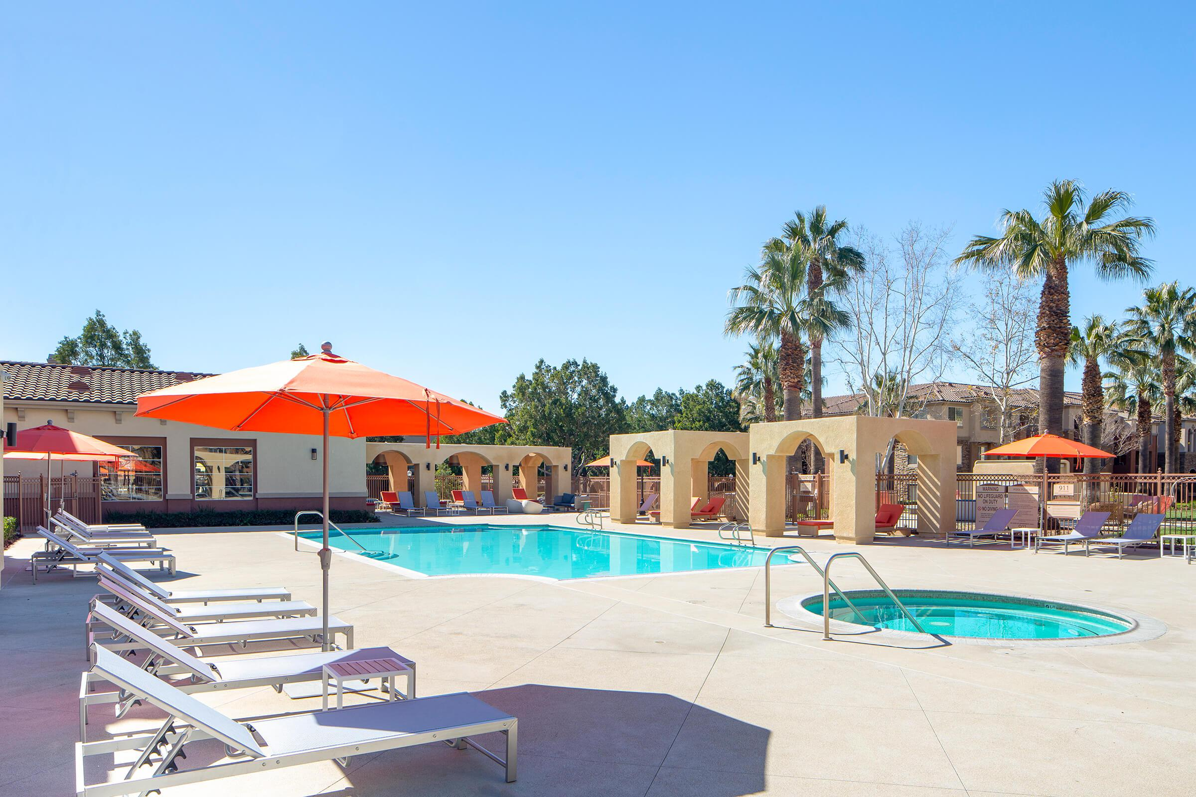Community pool and spa at Rancho Cucamonga apartment complex
